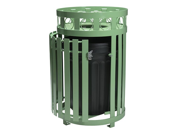 ATLANTA ROUND LITTER RECEPTACLE WITH DOOR