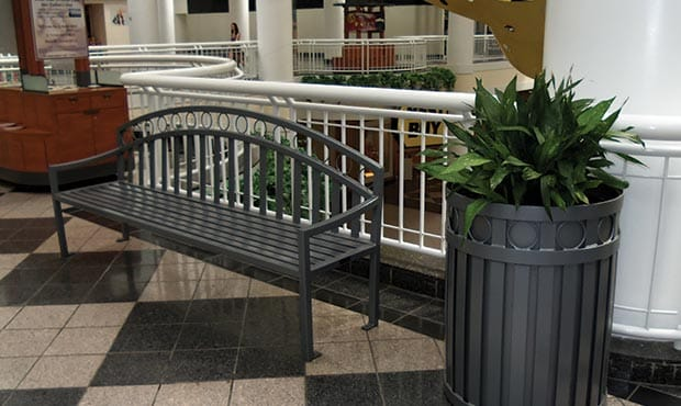 Atlanta bench and Atlanta litter receptacle at an indoor mall