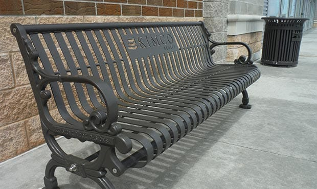 Branded KIMCO bench and litter receptacle