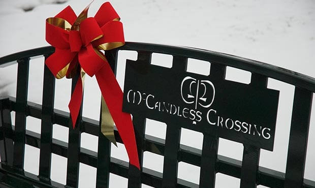 McConnell bench with red bow at McCandless Crossing