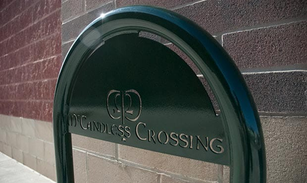 Sonance bike rack with laser cut logo at McCandless Crossing