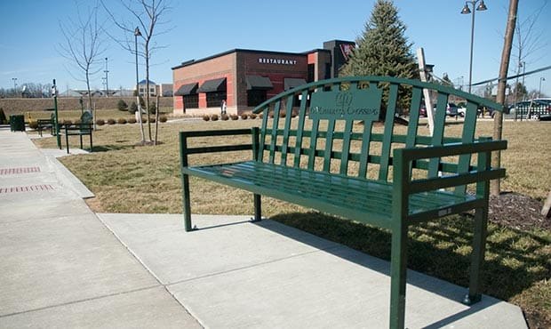 McConnell bench with laser cut logo at McCandless Crossing