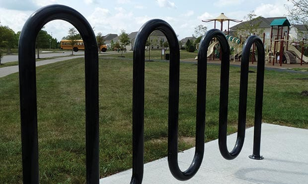 Sonance bike rack at a playground