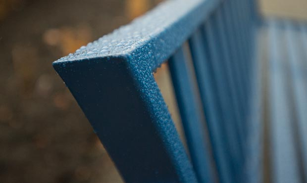 Choose powder coated site furnishings when possible