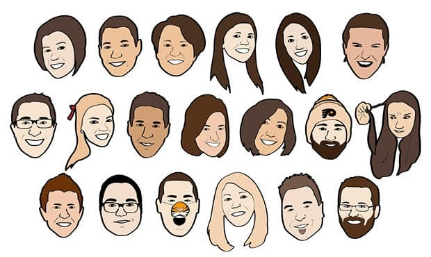 Caricatures of some of Keystone Ridge Designs' employees