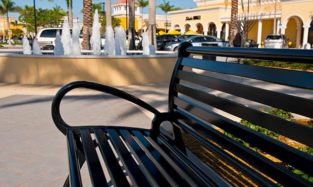 Schenley Bench close up at the Del Ray marketplace, an outdoor retail shopping center