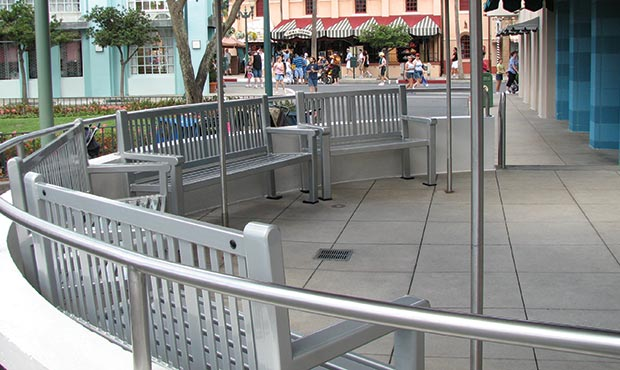 Reading benches outside a restaurant in Disneyworld
