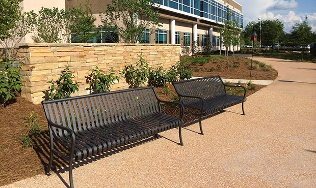 Pullman benches outside of a medical center