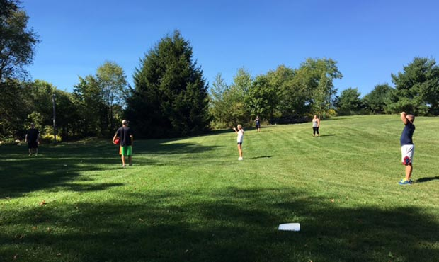 Keystone Ridge Designs employees playing kickball
