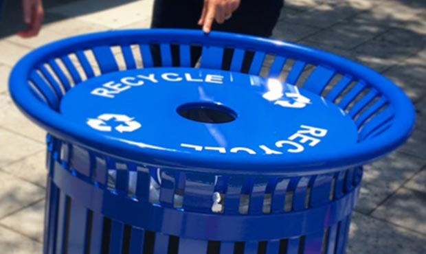 Blue Midtown Recycling Receptacle with decals