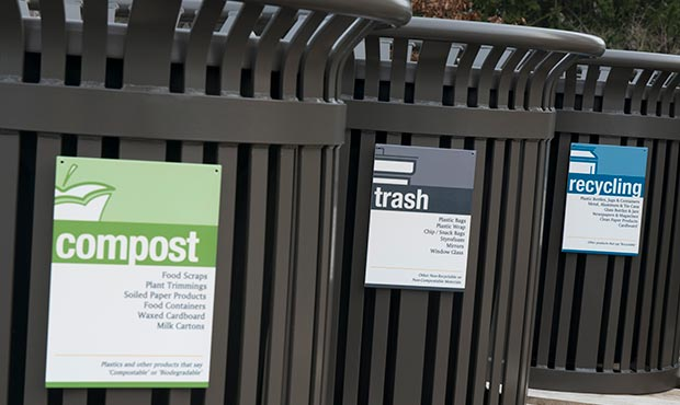 Midtown receptacles with trash, recycling and compost signage