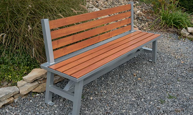 Wood Grain Aluminum slats on a Breakwater bench with back