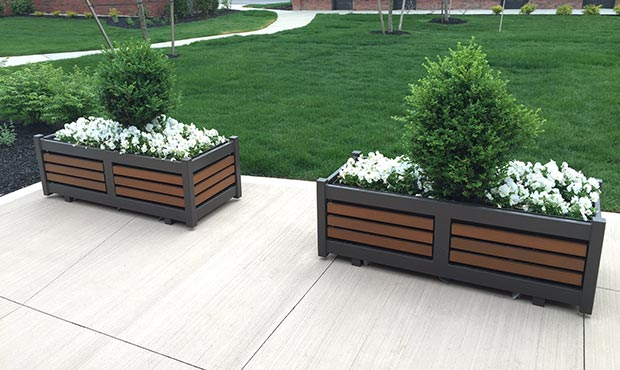 Plaza planters with steel and wood