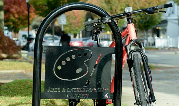 Sonance Bike Rack with Arts and Entertainment logo