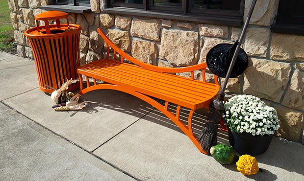 Dragonfly Bench and Harmony Litter Receptacle with festive fall decorations