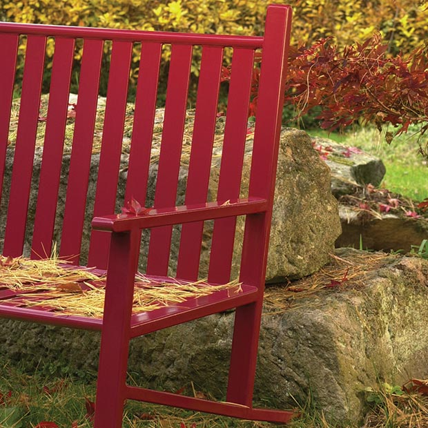 Thendara Bench with back in an autumn setting