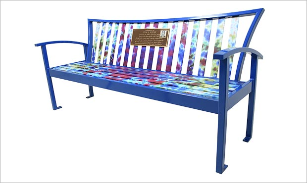 Exeter Bench with Back, plaque, and tie-dye pattern