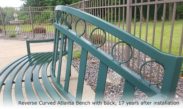Reverse curved Atlanta Bench going strong after 17 years