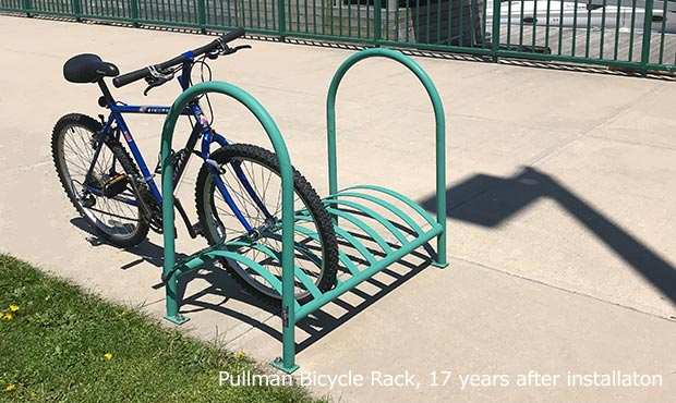 Pullman Bike Rack after 17 years onsite