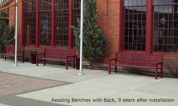 Reading Benches with laser cut train artwork over 10 years old