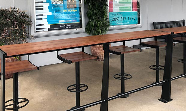 Creekview Counters with Keyshield wood grain slats in a shopping center