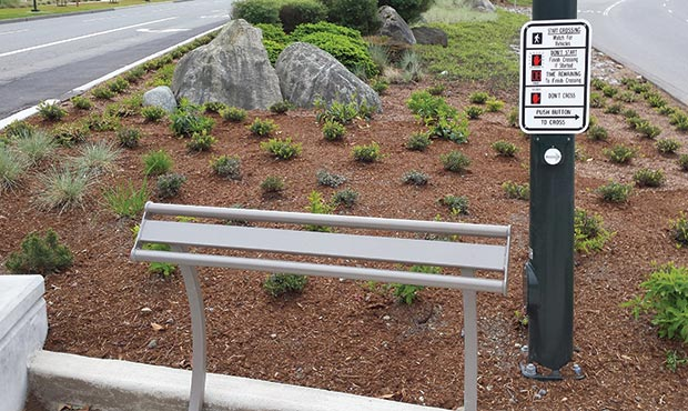 Penn Leaning Rail installed at a crosswalk
