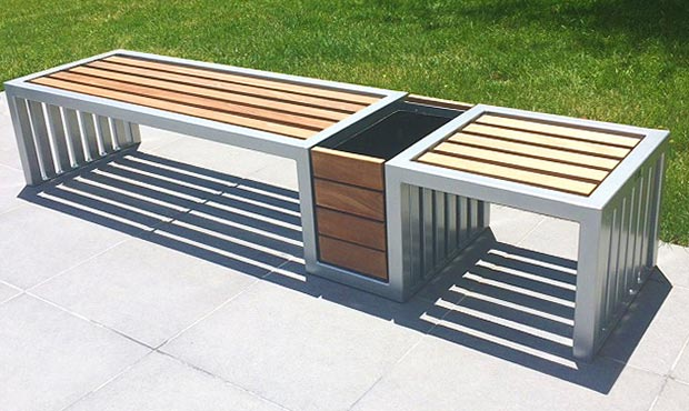 Plaza Planter and Bench combination with Ipe wood slats