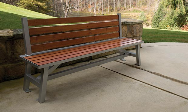 Breakwater benches look great when customized with wood grain aluminum slats