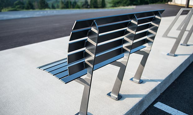The Carson bench exudes contemporary styling