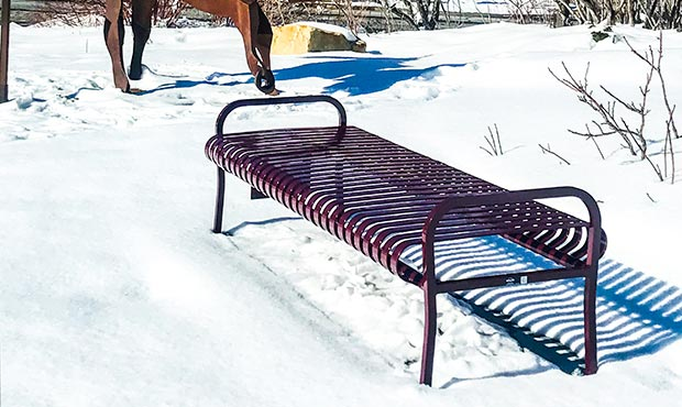 A Midtown Flat Bench braving the cold of winter