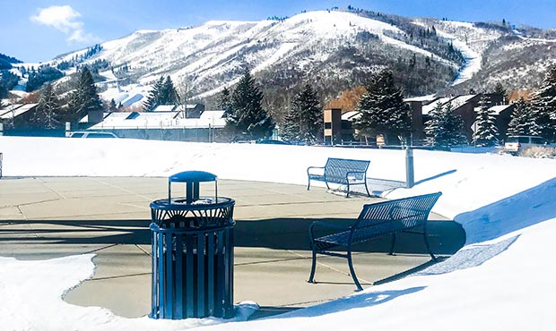 Keystone Ridge Designs site furnishings in front of the Park City ski slopes
