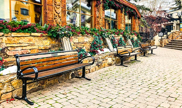 Robinson Benches stationed outside a ski lodge