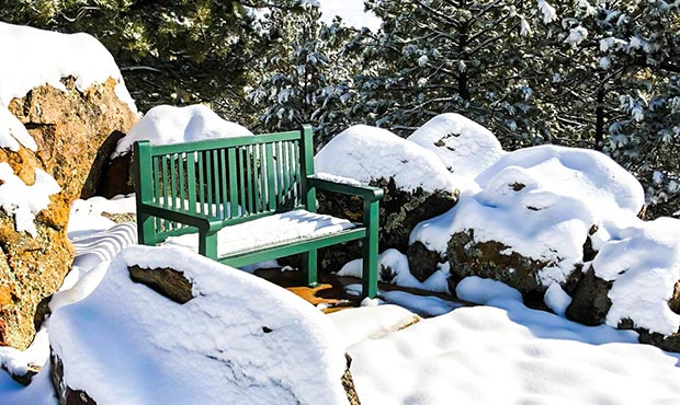Reading Bench with Back roughing out the cold winter in Colorado