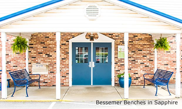 Bessemer Bench with Back in Sapphire Blue