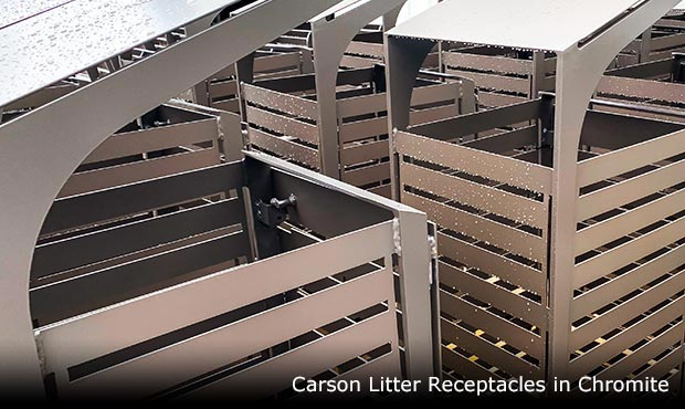 Carson Litter Receptacles in chromite waiting to be shipped
