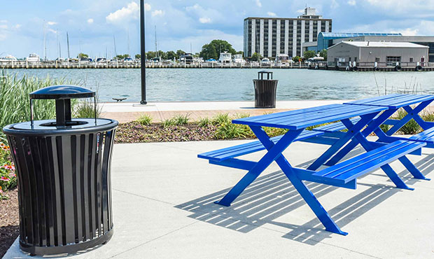 Breakwater Picnic Tables and Harmony Litters at a marina