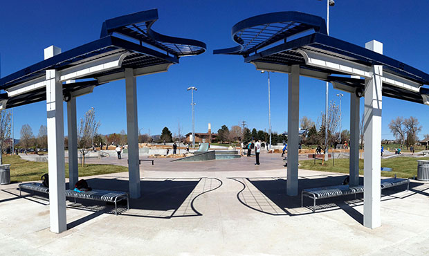Curved Pullman Flat Benches outside a Colorado skate park