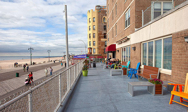 Creekview and Plaza Benches look out along the boardwalk