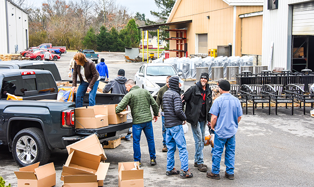 Keystone Ridge employees unloading a truck.