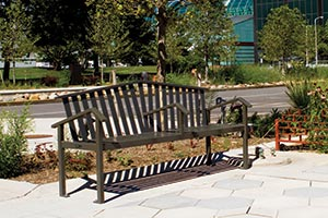 Atticus Bench with Back and Center Arm