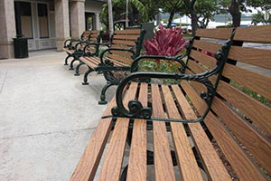Wood Grain Aluminum Slats on Rosedale Bench with Back