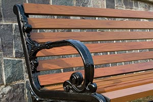 Wood Grain Aluminum Slats on Rosedale Bench with Back detail