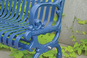 Blue Lamplighter bench nameplate
