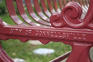 Red Lamplighter bench nameplate Connellsville