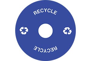 Standard recycle decal on lid with icon