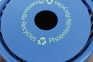 Phoenixville flat lid decal on litter receptacle