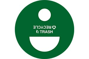 Standard trash and recycle decal on split lid with icons