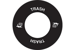 Standard trash decal on lid with icon
