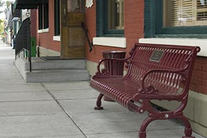 Lamplighter Bench with town name Nameplate