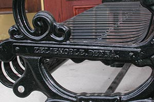 Lamplighter Bench with town name Nameplate closeup